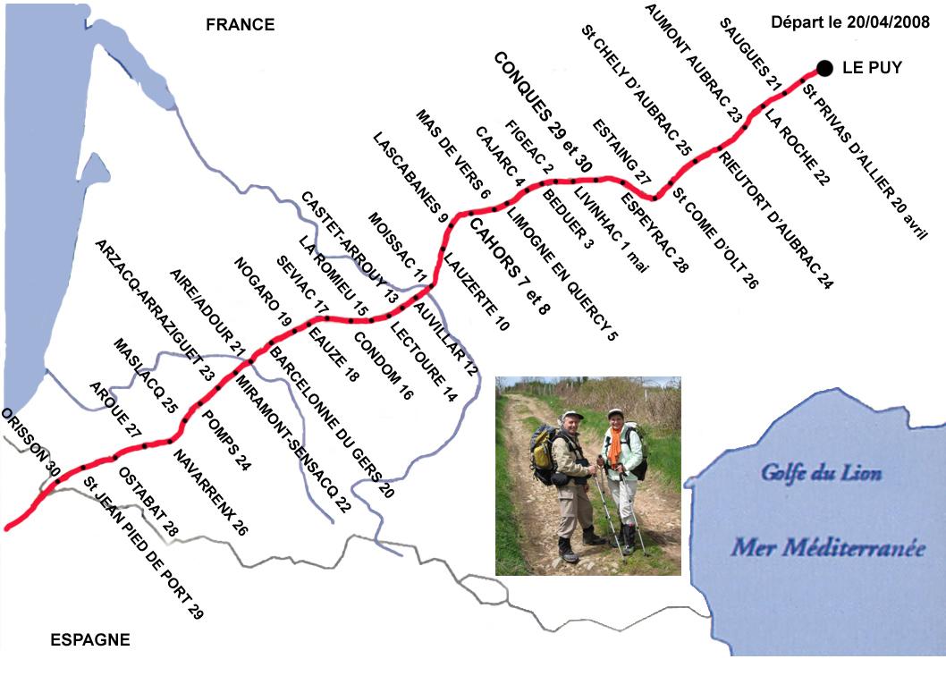 Chemin de st jacques de compostelle en france carte my blog - Office du tourisme saint jacques de compostelle ...